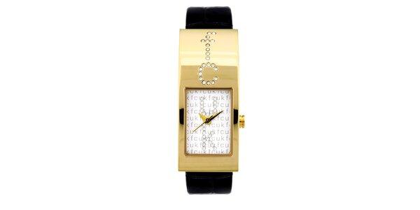 Dámske zlato-čierne analógové hodinky s originálnym ciferníkom French Connection