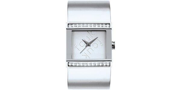 Dámske strieborné analógové hodinky s kryštáľmi French Connection