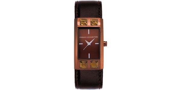 Dámske hnedo-karamelové analógové hodinky French Connection
