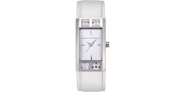 Dámske biele analógové hodinky s kryštáľmi French Connection