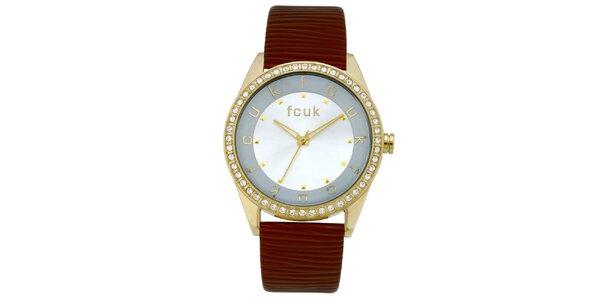 Dámske cihlovo-zlaté analógové hodinky french Connection
