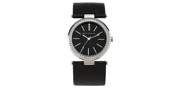 Dámske gulaté čiernostrieborné hodinky s kryštálkami French Connection