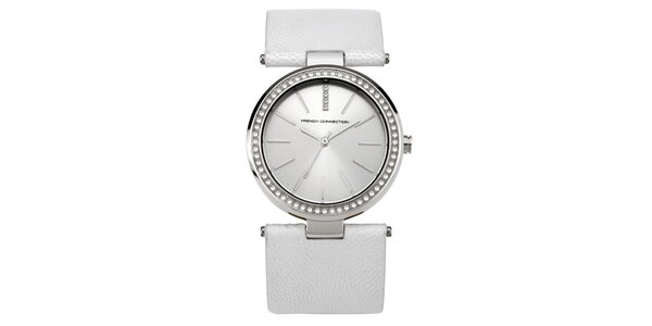 Dámske gulaté strieborné hodinky s kryštálkami French Connection