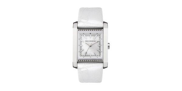 Dámske obdĺžnikové hodinky French Connection s bielym remienkom