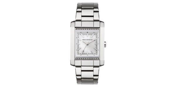 Dámske strieborné obdĺžnikové hodinky French Connection