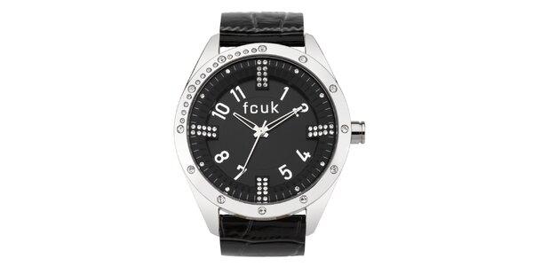 Dámske čierno-strieborné analógové hodinky zdobené kryštáľmi French Connection