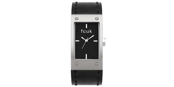 Dámske analógové hodinky so širokým čiernym páskom French Connection