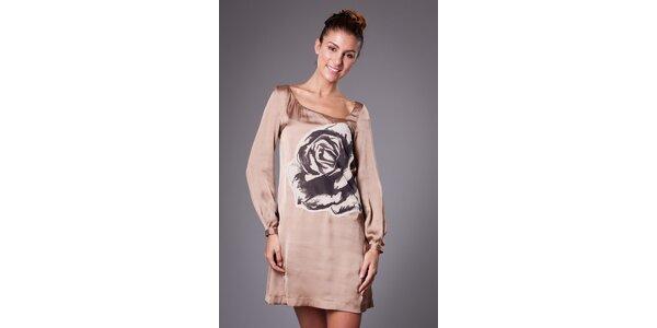 Dámske béžové saténové šaty ByLu s ružou
