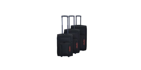Set troch čiernych kufrov na koliečkach Esprit