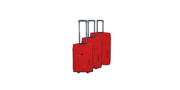 Set troch červených kufrov na koliečkach Esprit