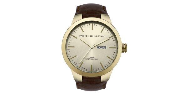 Pánske zlato-hnedé analogové hodinky French Connection