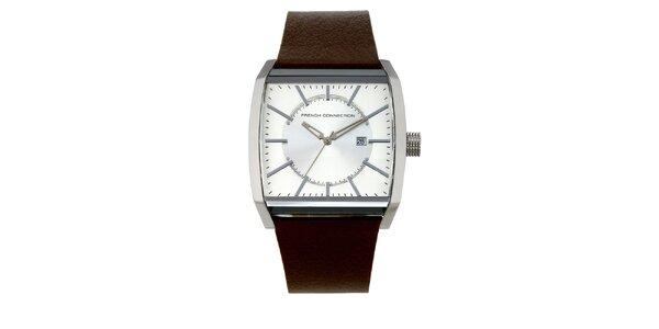 Pánske analogové hodinky s hnedým páskom French Connection