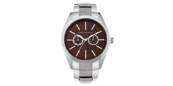 Pánske strieborno-hnedé analogové hodinky French Connection