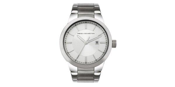 Pánske strieborné analogové hodinky French Connection