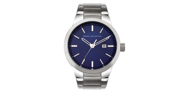 Pánske strieborno-modré analogové hodinky French Connection