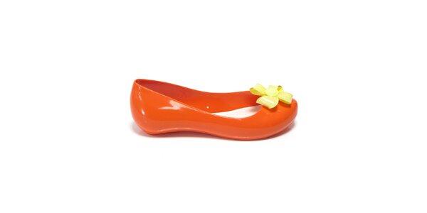 Dievčenské oranžové balerínky s žltou kvetinou Favolla