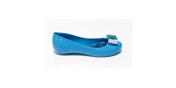 Dievčenské blankytno modré balerínky s mašľou Favolla
