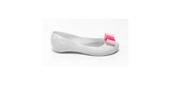 Dievčenské biele balerínky s ružovou mašľou Favolla