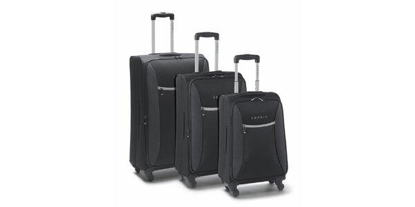 Čierno-šedý set troch kufrov na koliečkach Esprit
