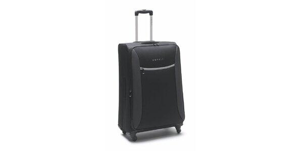 Čierno-šedý veľký kufor na koliečkach Esprit