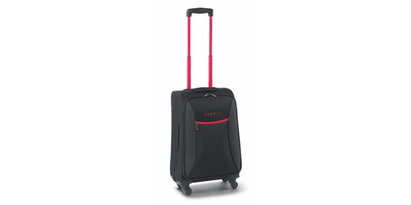 Čierno-ružový malý kufor na koliečkach Esprit