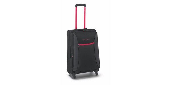Čierno-ružový stredne veľký kufor na koliečkach Esprit