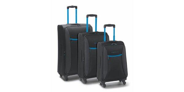 Čierno-tyrkysový set troch kufrov na koliečkach Esprit