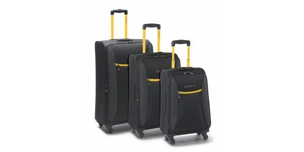 Čierno-žltý set troch kufrov na koliečkach Esprit