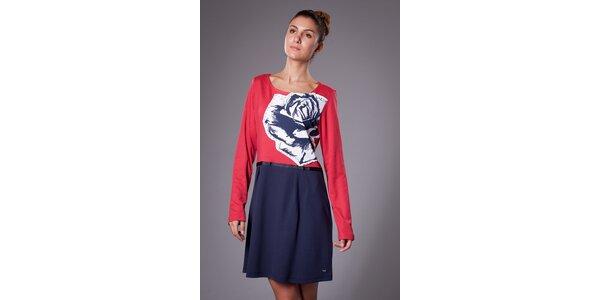 Dámske červeno-modré šaty ByLu s ružou