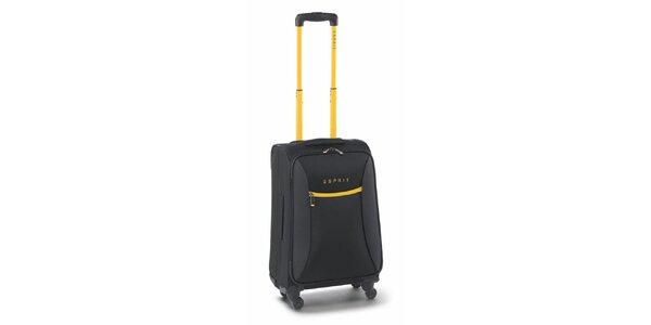 Čierno-žltý malý kufor na koliečkach Esprit