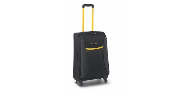 Čierno-žltý stredne veľký kufor na koliečkach Esprit
