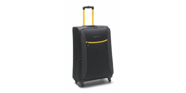 Čierno-žltý veľký kufor na koliečkach Esprit