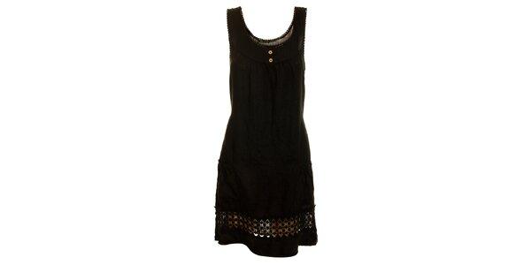 Dámske čierne ľanové šaty s perforovaním Puro Lino