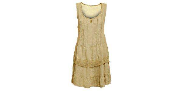 Dámske béžové ľanové šaty s čipkovaným lemom Puro Lino