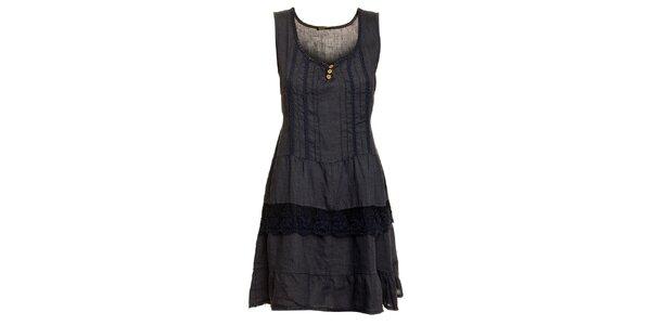 Dámske tmavo modré ľanové šaty s čipkovaným lemom Puro Lino