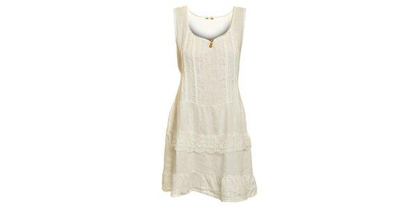 Dámske biele ľanové šaty s čipkovaným lemom Puro Lino