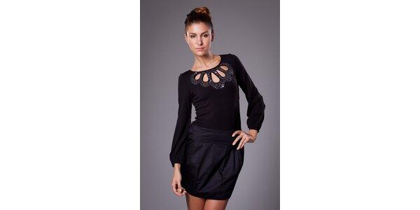 Dámske čierne šaty ByLu s flitrami