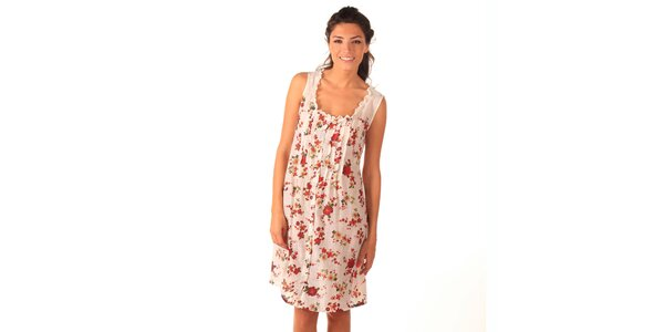 Dámske bielo-červené šaty bez rukávov Caniche