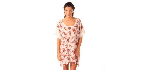 Dámske biele vzdušné šaty s ružičkami Caniche