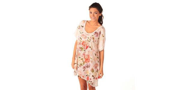 Dámske biele vzdušné šaty s ružami Caniche