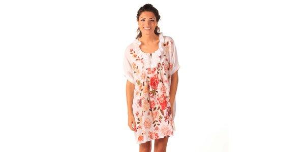 Dámske biele vzdušné šaty s ružičkami a volánikmi Caniche