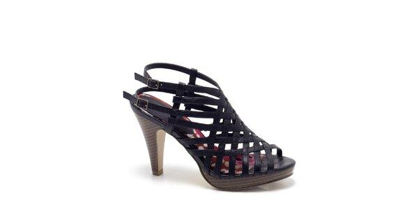 Dámske čierne páskové sandále s podpätkom Madden Girl