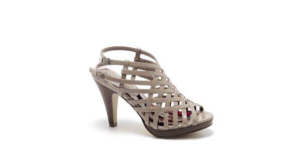 Dámske béžové páskové sandále s podpätkom Madden Girl