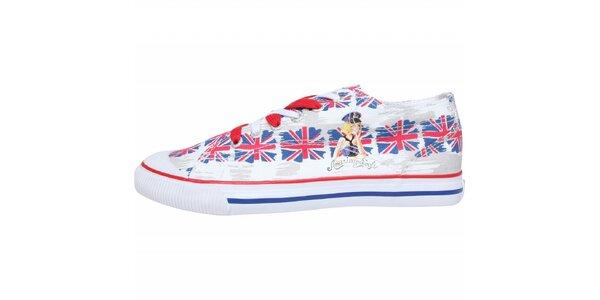 Dámske plátené tenisky American Eagle s potlačou britskej vlajky