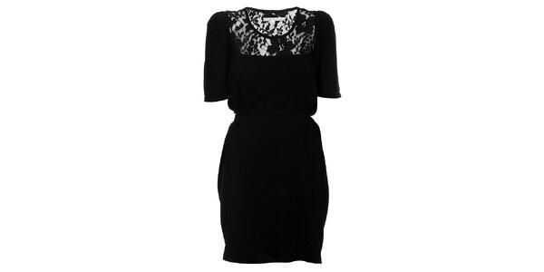 Dámske čierne šaty Uttam Boutique s krajkou