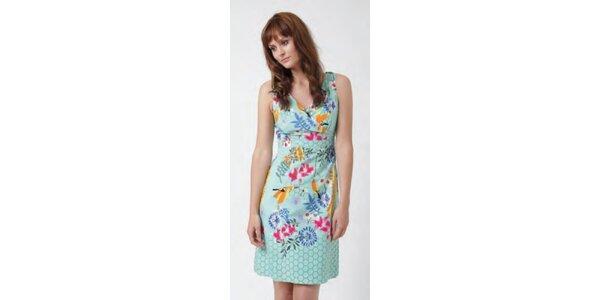 Dámske minty šaty Uttam Boutique s kvetinovým potiskom