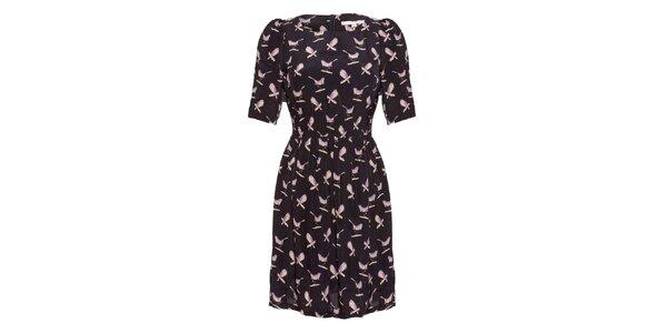Dámske čierne šaty s potiskom vtáčikov Uttam Boutique
