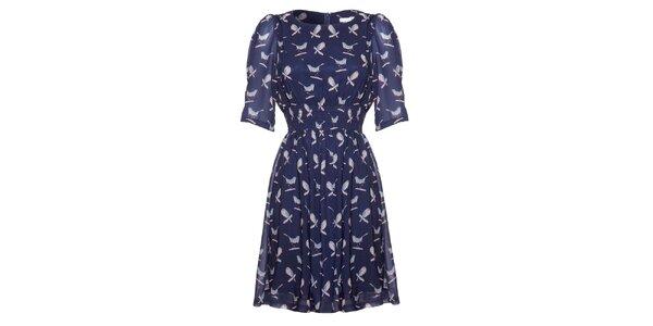 Dámske tmavo modré šaty s potiskom vtáčikov Uttam Boutique