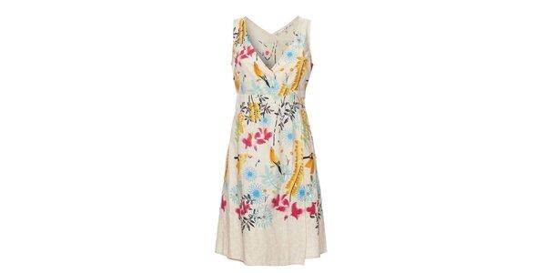 Dámske krémové šaty Uttam Boutique s kvetinovým potiskom