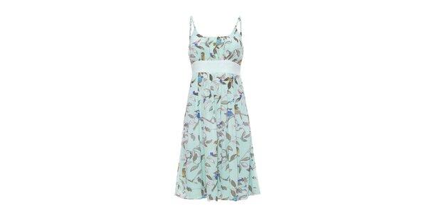 Dámske zelené šaty so špagetovými ramienkami a potiskom Uttam Boutique